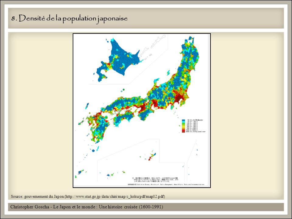 8. Densité de la population japonaise Christopher Goscha - Le Japon et le monde : Une histoire croisée (1600-1991) Source: gouvernement du Japon (http