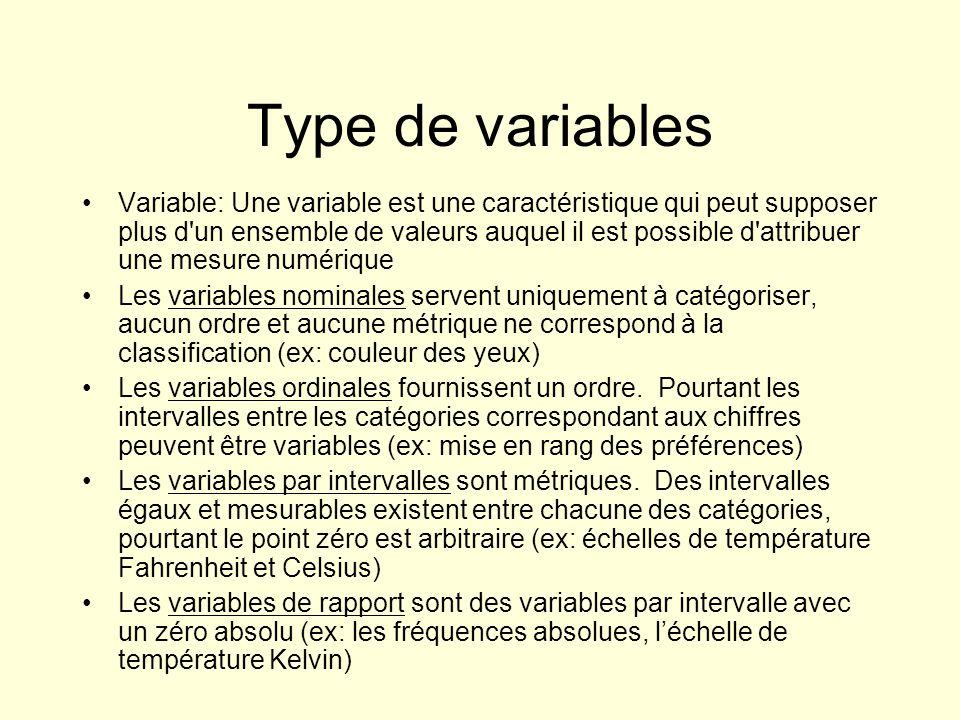 Type de variables Variable: Une variable est une caractéristique qui peut supposer plus d'un ensemble de valeurs auquel il est possible d'attribuer un