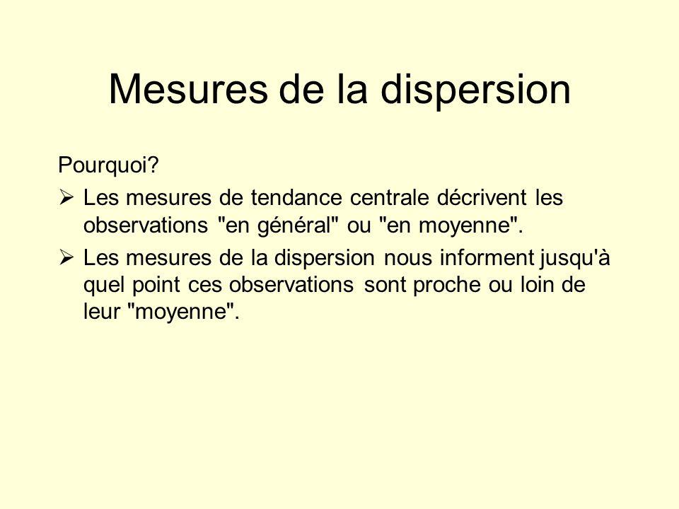 Mesures de la dispersion Pourquoi? Les mesures de tendance centrale décrivent les observations