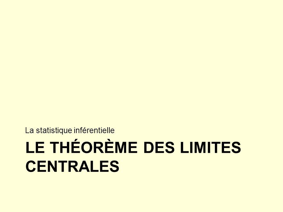 LE THÉORÈME DES LIMITES CENTRALES La statistique inférentielle