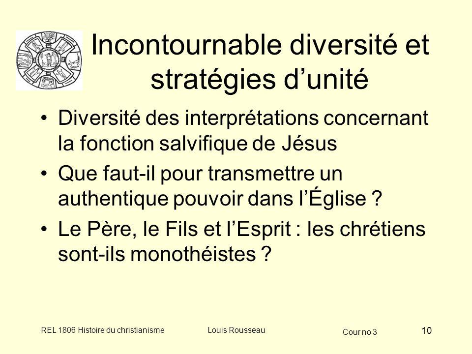 Cour no 3 REL 1806 Histoire du christianismeLouis Rousseau 10 Incontournable diversité et stratégies dunité Diversité des interprétations concernant l