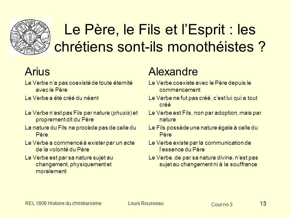 Cour no 3 REL 1806 Histoire du christianismeLouis Rousseau 13 Le Père, le Fils et lEsprit : les chrétiens sont-ils monothéistes ? Arius Le Verbe na pa