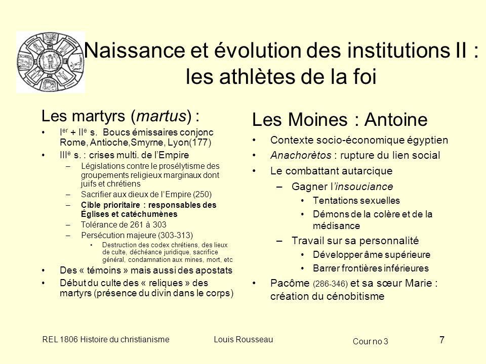Cour no 3 REL 1806 Histoire du christianismeLouis Rousseau 7 Naissance et évolution des institutions II : les athlètes de la foi Les martyrs (martus)