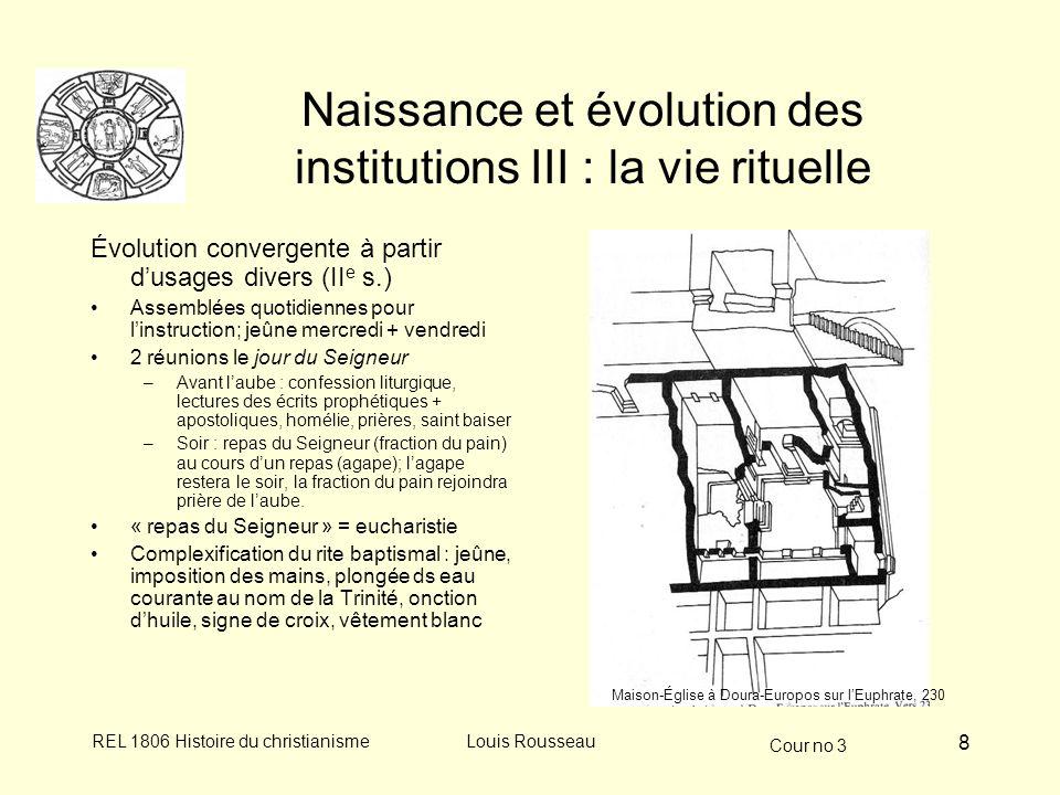 Cour no 3 REL 1806 Histoire du christianismeLouis Rousseau 8 Naissance et évolution des institutions III : la vie rituelle Évolution convergente à par