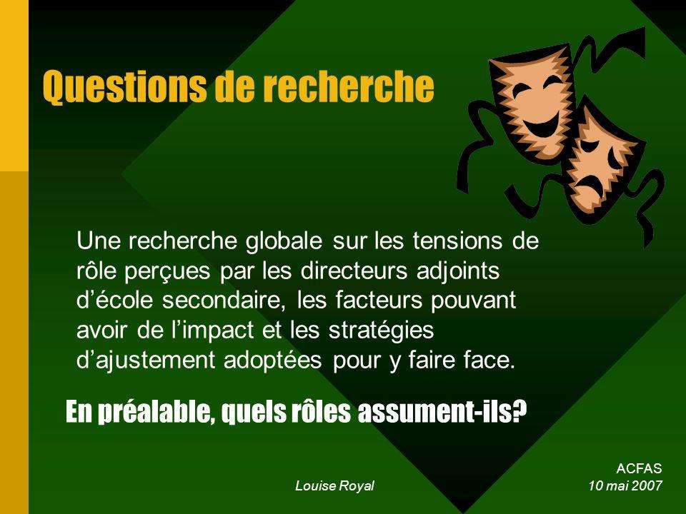 ACFAS Louise Royal 10 mai 2007 Questions de recherche Une recherche globale sur les tensions de rôle perçues par les directeurs adjoints décole secondaire, les facteurs pouvant avoir de limpact et les stratégies dajustement adoptées pour y faire face.