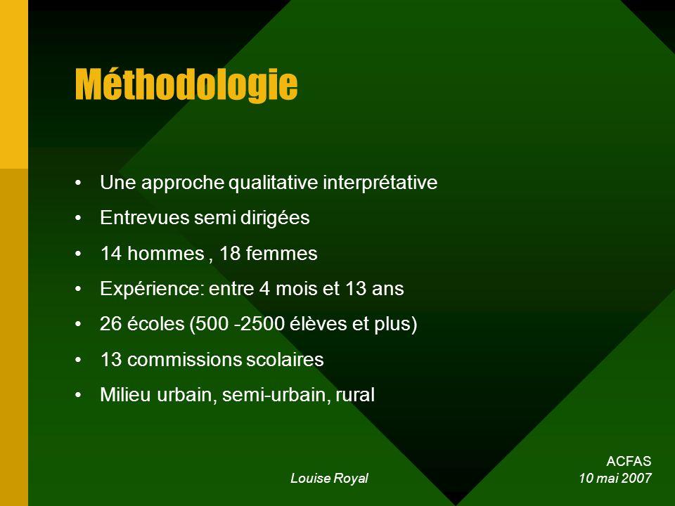 ACFAS Louise Royal 10 mai 2007 Méthodologie Une approche qualitative interprétative Entrevues semi dirigées 14 hommes, 18 femmes Expérience: entre 4 m