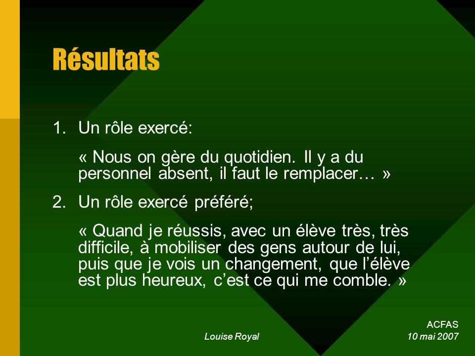 ACFAS Louise Royal 10 mai 2007 Résultats 1.Un rôle exercé: « Nous on gère du quotidien. Il y a du personnel absent, il faut le remplacer… » 2.Un rôle