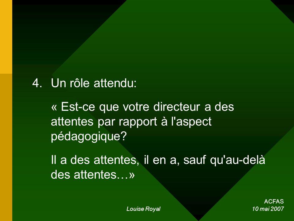 ACFAS Louise Royal 10 mai 2007 4.Un rôle attendu: « Est-ce que votre directeur a des attentes par rapport à l'aspect pédagogique? Il a des attentes, i