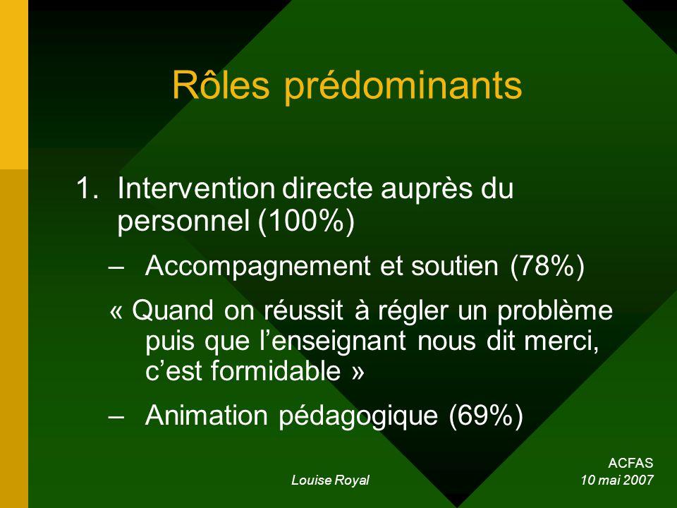 ACFAS Louise Royal 10 mai 2007 Rôles prédominants 1.Intervention directe auprès du personnel (100%) –Accompagnement et soutien (78%) « Quand on réussit à régler un problème puis que lenseignant nous dit merci, cest formidable » –Animation pédagogique (69%)