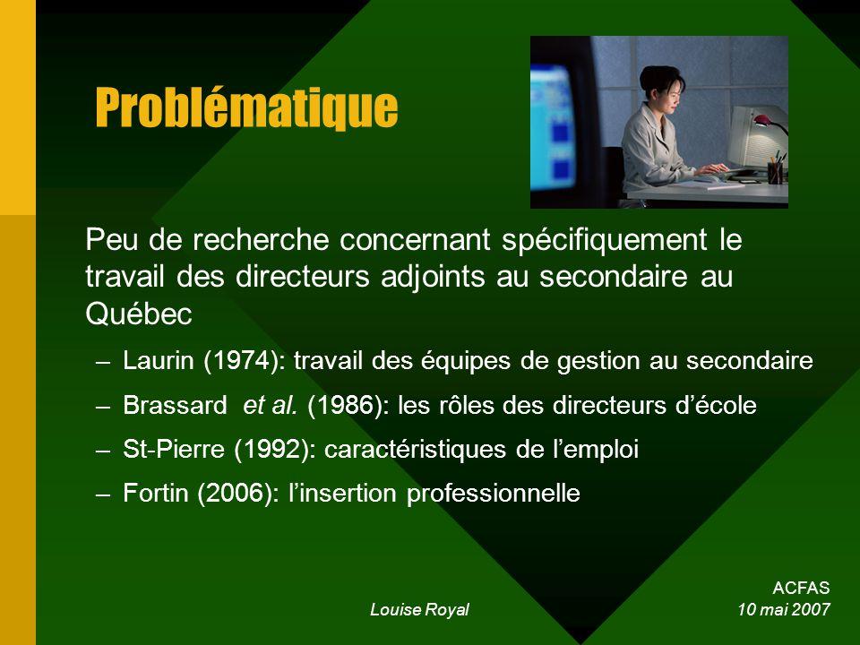 ACFAS Louise Royal 10 mai 2007 Problématique Peu de recherche concernant spécifiquement le travail des directeurs adjoints au secondaire au Québec –Laurin (1974): travail des équipes de gestion au secondaire –Brassard et al.