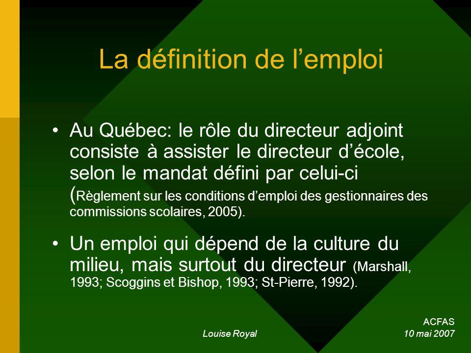 ACFAS Louise Royal 10 mai 2007 La définition de lemploi Au Québec: le rôle du directeur adjoint consiste à assister le directeur décole, selon le mandat défini par celui-ci ( Règlement sur les conditions demploi des gestionnaires des commissions scolaires, 2005).