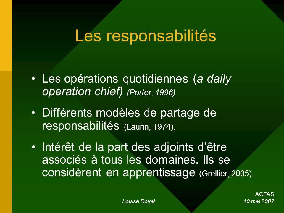 ACFAS Louise Royal 10 mai 2007 Les responsabilités Les opérations quotidiennes (a daily operation chief) (Porter, 1996). Différents modèles de partage