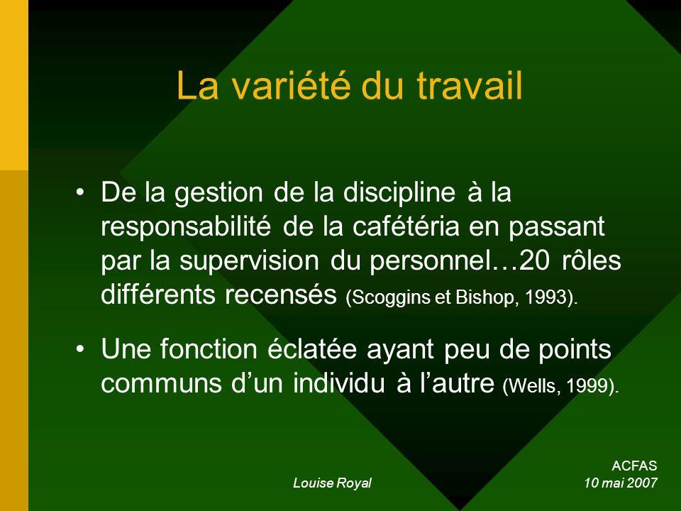 ACFAS Louise Royal 10 mai 2007 La variété du travail De la gestion de la discipline à la responsabilité de la cafétéria en passant par la supervision
