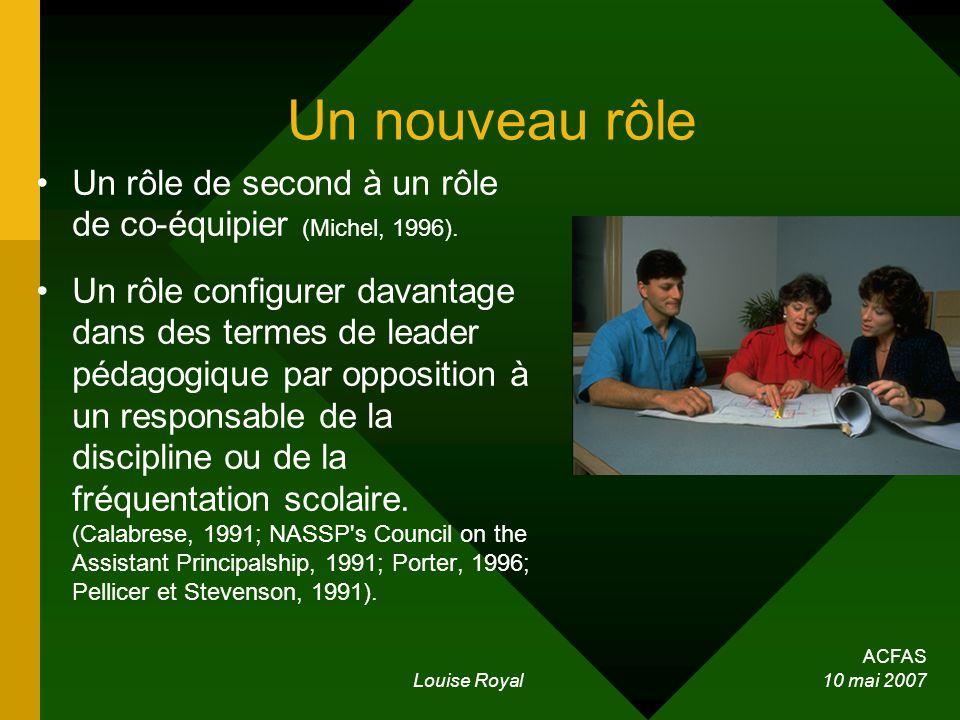 ACFAS Louise Royal 10 mai 2007 Un nouveau rôle Un rôle de second à un rôle de co-équipier (Michel, 1996). Un rôle configurer davantage dans des termes