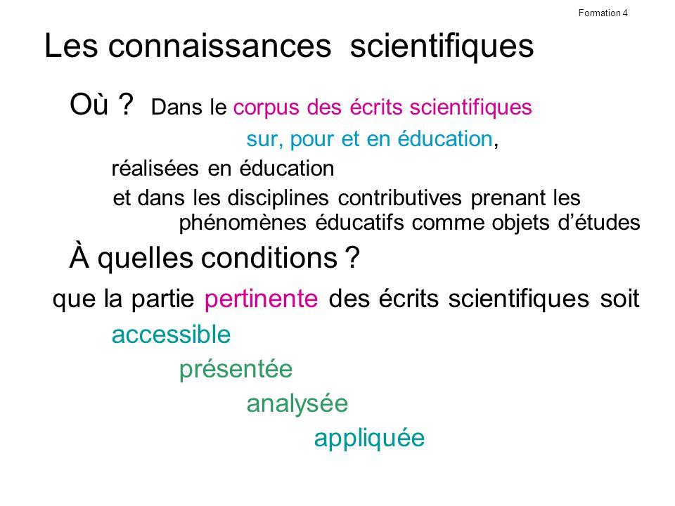 Formation 4 Les connaissances scientifiques Où .