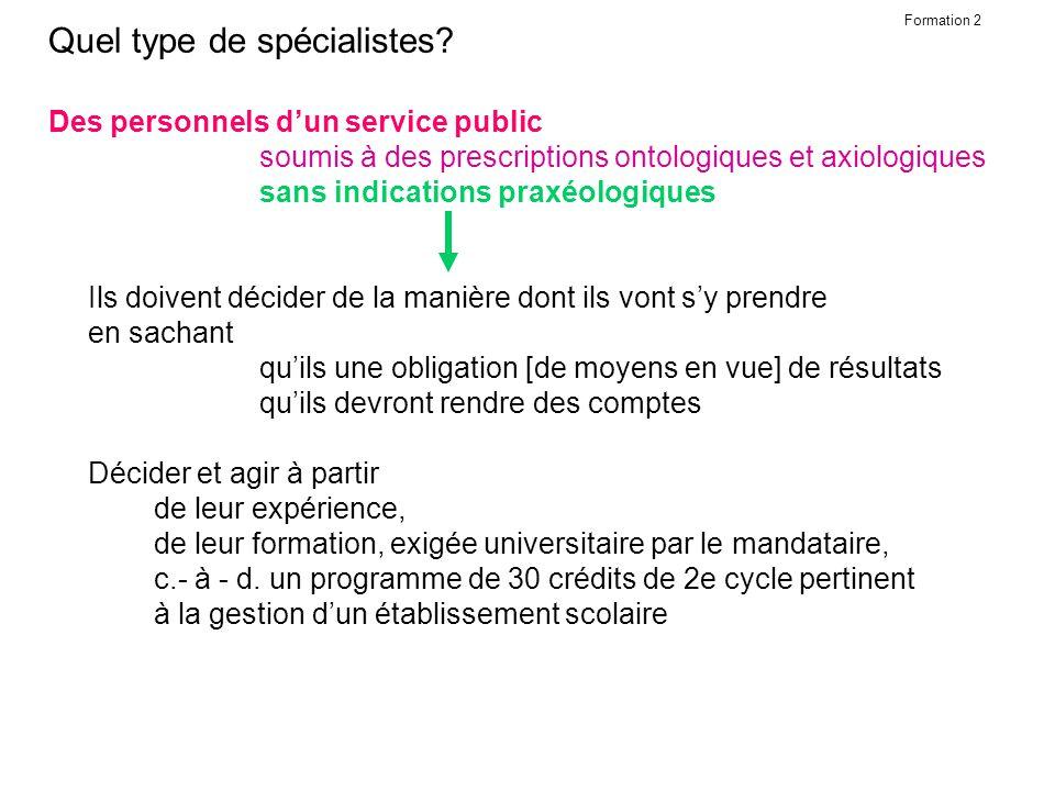 Formation 2.1 Quel type de spécialistes.