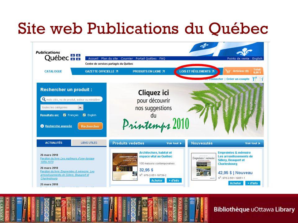 Site web Publications du Québec