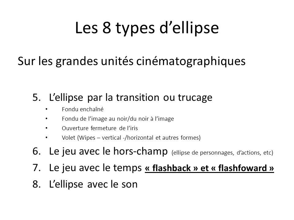 Les 8 types dellipse Sur les petites unités cinématographiques 1.Le raccord dans le mouvement 2.Le raccord de direction 3.Le jump cut ou « saute temporelle » 4.Le champ-contrechamp