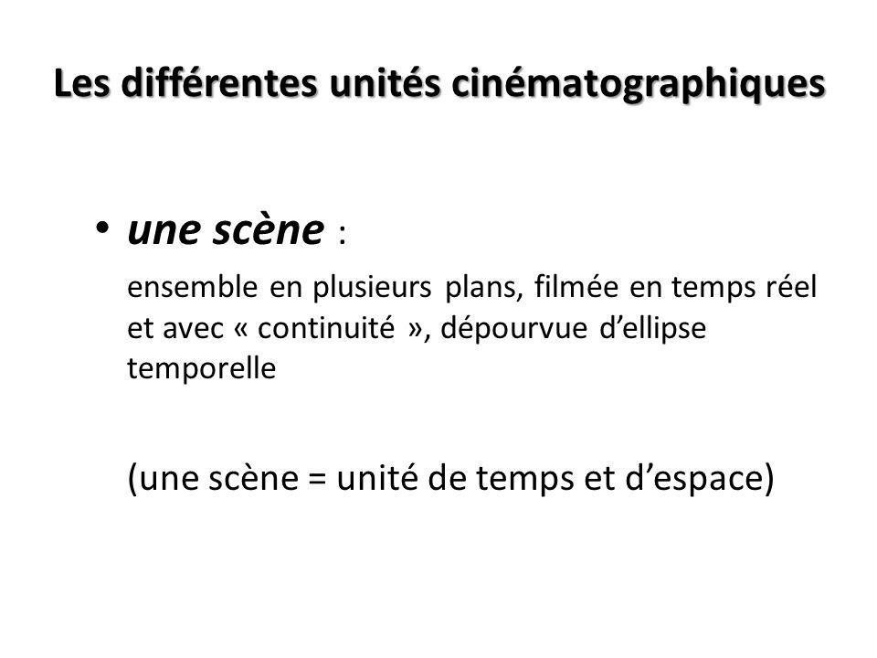 Les différentes unités cinématographiques un cadre (photogramme ou « frame ») : le plus petit segment dun film ou dune vidéo un plan : au tournage: du démarrage à larrêt de la caméra au montage: entre deux coupes