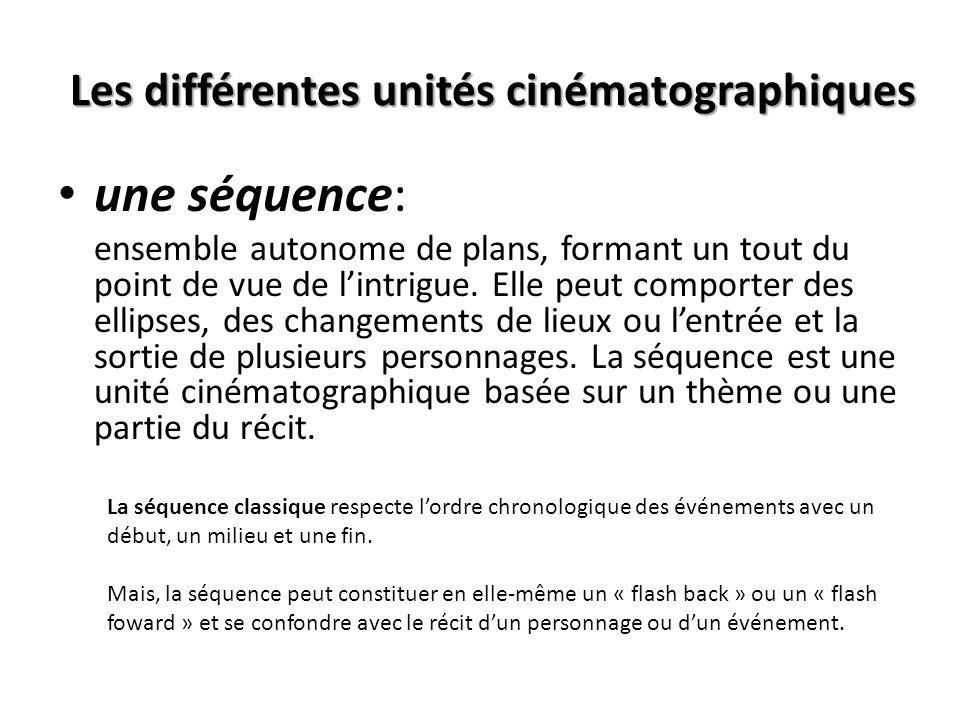 Les différentes unités cinématographiques une scène : ensemble en plusieurs plans, filmée en temps réel et avec « continuité », dépourvue dellipse temporelle (une scène = unité de temps et despace)