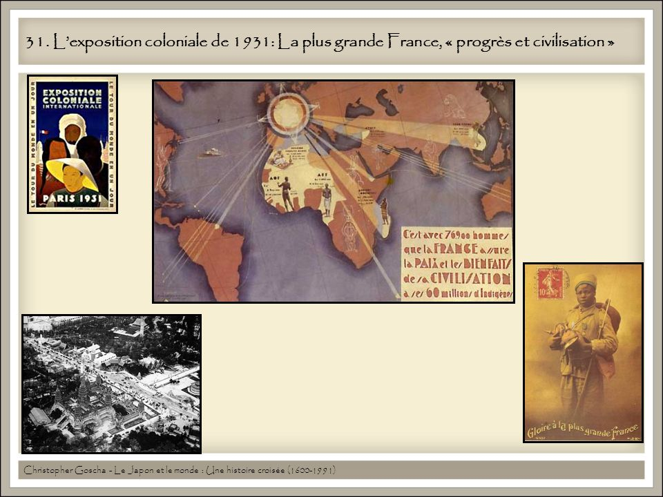31. Lexposition coloniale de 1931: La plus grande France, « progrès et civilisation » Christopher Goscha - Le Japon et le monde : Une histoire croisée