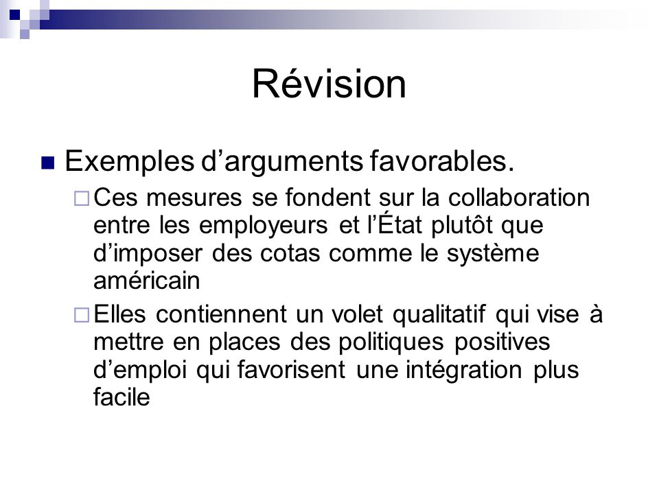 Révision Exemples darguments favorables.