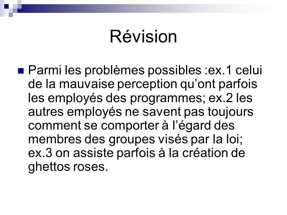 Révision Parmi les problèmes possibles :ex.1 celui de la mauvaise perception quont parfois les employés des programmes; ex.2 les autres employés ne sa