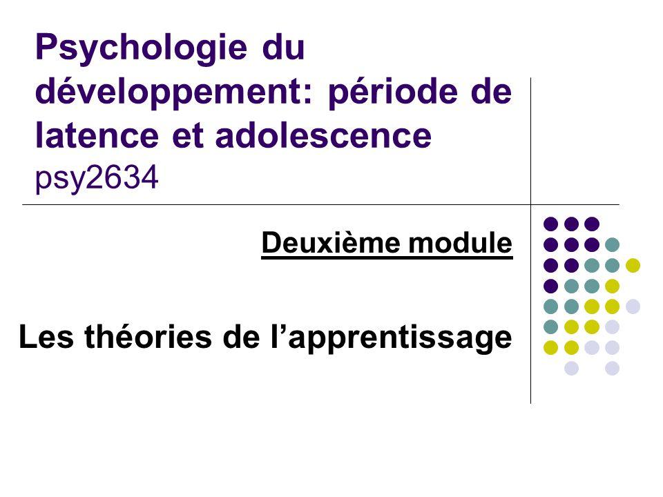 Psychologie du développement: période de latence et adolescence psy2634 Deuxième module Les théories de lapprentissage
