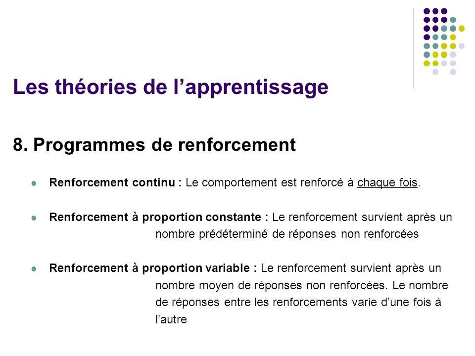8. Programmes de renforcement Renforcement continu : Le comportement est renforcé à chaque fois. Renforcement à proportion constante : Le renforcement