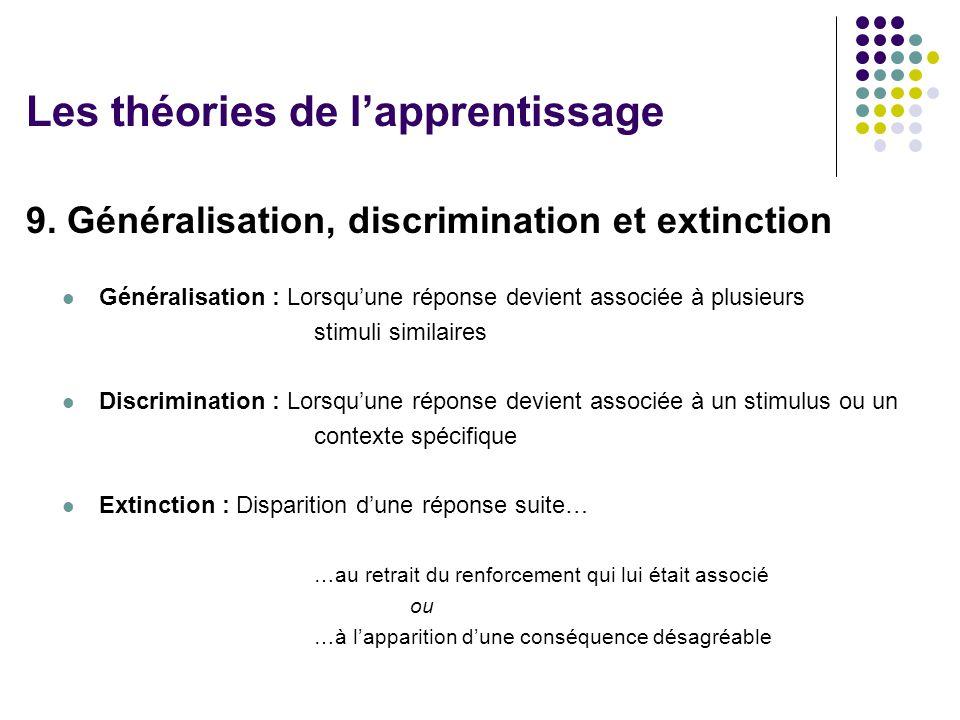 9. Généralisation, discrimination et extinction Généralisation : Lorsquune réponse devient associée à plusieurs stimuli similaires Discrimination : Lo