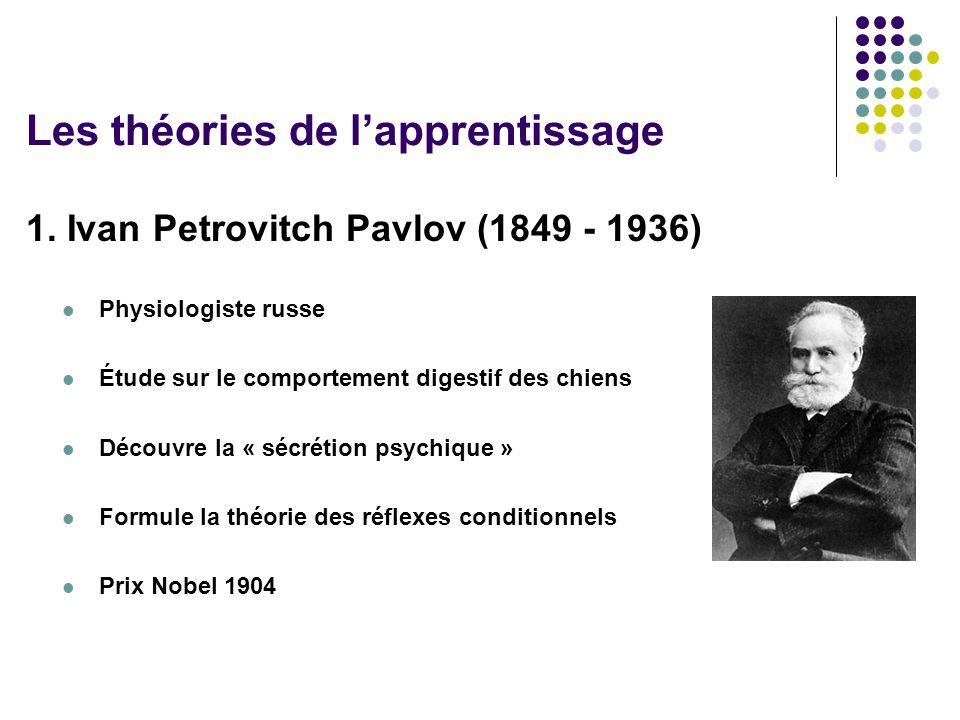 1. Ivan Petrovitch Pavlov (1849 - 1936) Physiologiste russe Étude sur le comportement digestif des chiens Découvre la « sécrétion psychique » Formule