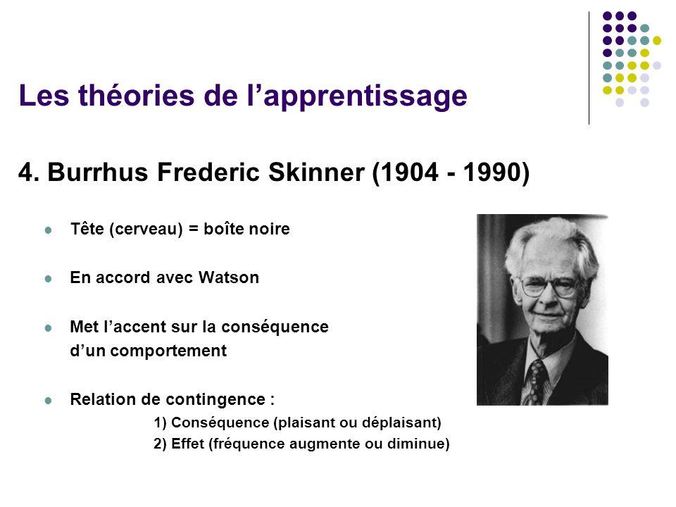 4. Burrhus Frederic Skinner (1904 - 1990) Tête (cerveau) = boîte noire En accord avec Watson Met laccent sur la conséquence dun comportement Relation
