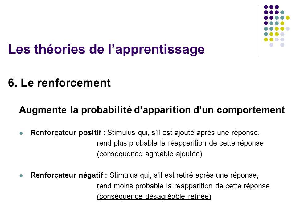 6. Le renforcement Augmente la probabilité dapparition dun comportement Renforçateur positif : Stimulus qui, sil est ajouté après une réponse, rend pl