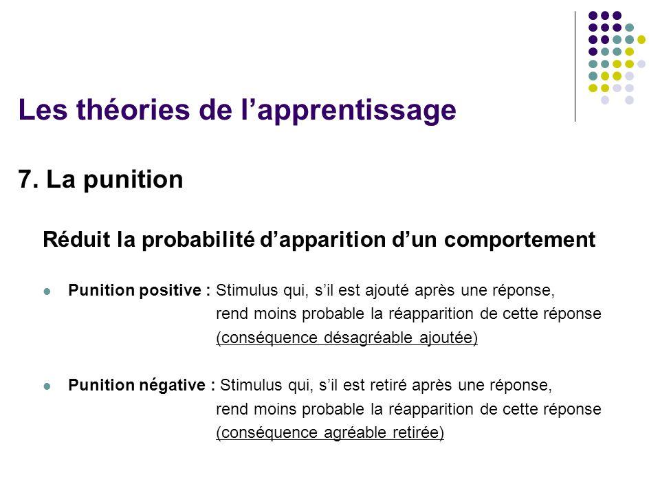 7. La punition Réduit la probabilité dapparition dun comportement Punition positive : Stimulus qui, sil est ajouté après une réponse, rend moins proba