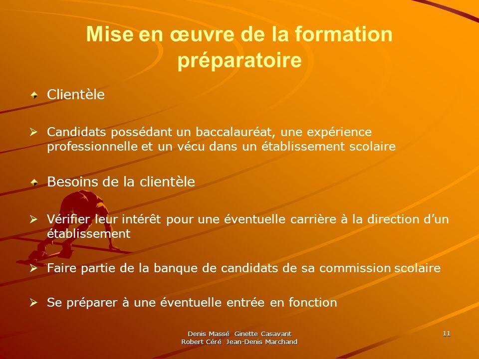 Denis Massé Ginette Casavant Robert Céré Jean-Denis Marchand 11 Mise en œuvre de la formation préparatoire Clientèle Candidats possédant un baccalauré