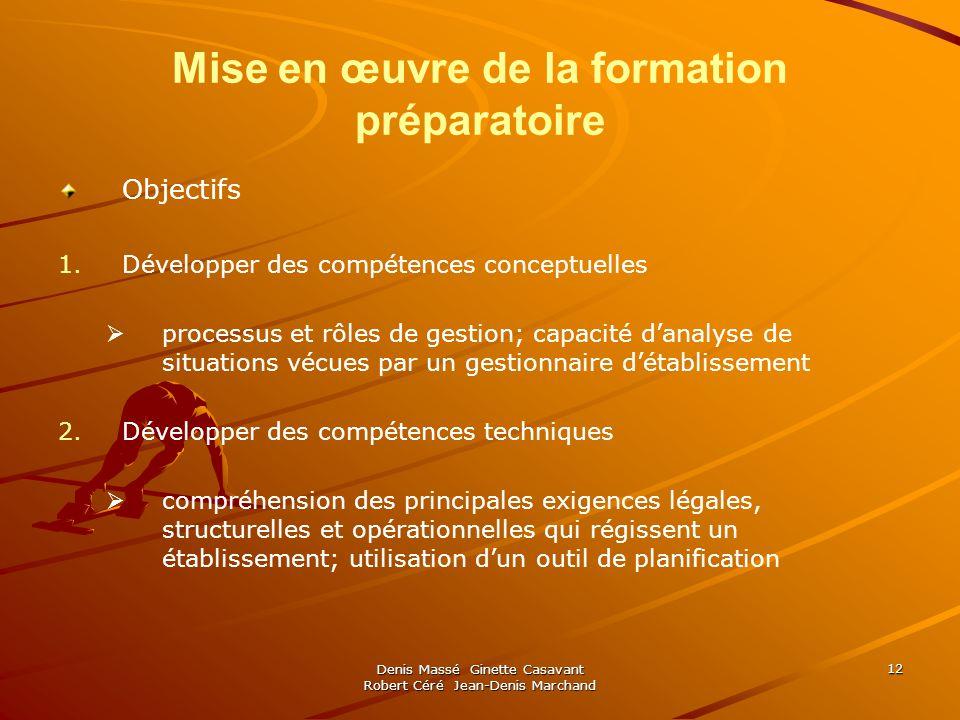 Denis Massé Ginette Casavant Robert Céré Jean-Denis Marchand 12 Mise en œuvre de la formation préparatoire Objectifs 1. 1.Développer des compétences c