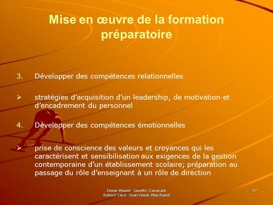 Denis Massé Ginette Casavant Robert Céré Jean-Denis Marchand 13 Mise en œuvre de la formation préparatoire 3.