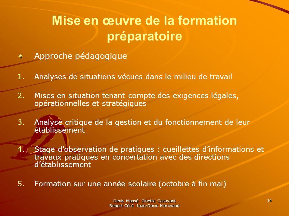 Denis Massé Ginette Casavant Robert Céré Jean-Denis Marchand 14 Mise en œuvre de la formation préparatoire Approche pédagogique 1. 1.Analyses de situa