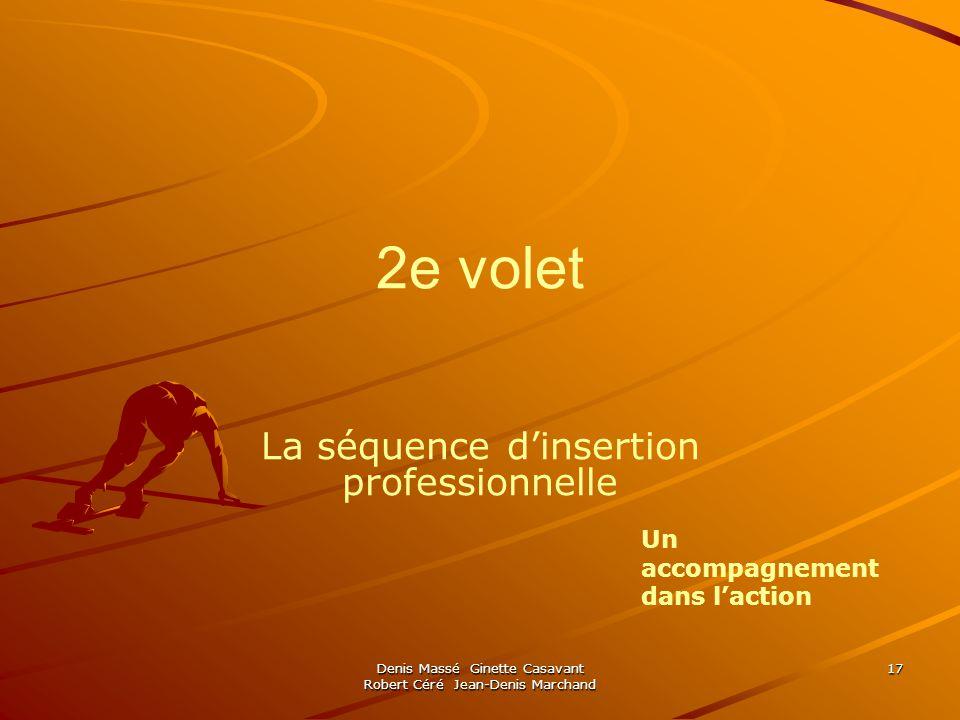 Denis Massé Ginette Casavant Robert Céré Jean-Denis Marchand 17 2e volet La séquence dinsertion professionnelle Un accompagnement dans laction