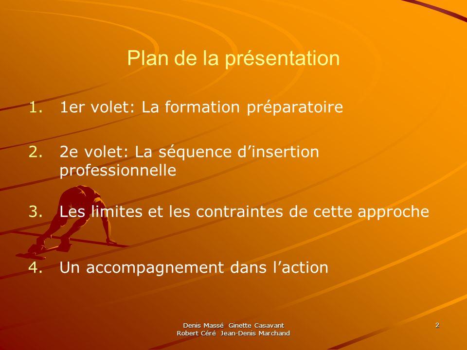 Denis Massé Ginette Casavant Robert Céré Jean-Denis Marchand 2 Plan de la présentation 1. 1.1er volet: La formation préparatoire 2. 2.2e volet: La séq