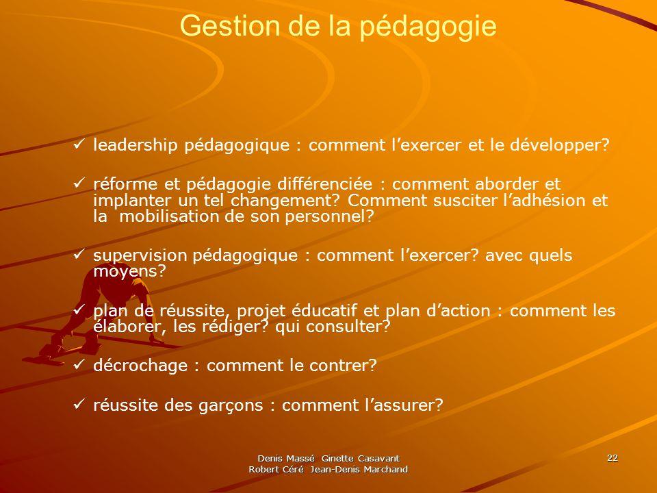Denis Massé Ginette Casavant Robert Céré Jean-Denis Marchand 22 Gestion de la pédagogie leadership pédagogique : comment lexercer et le développer.