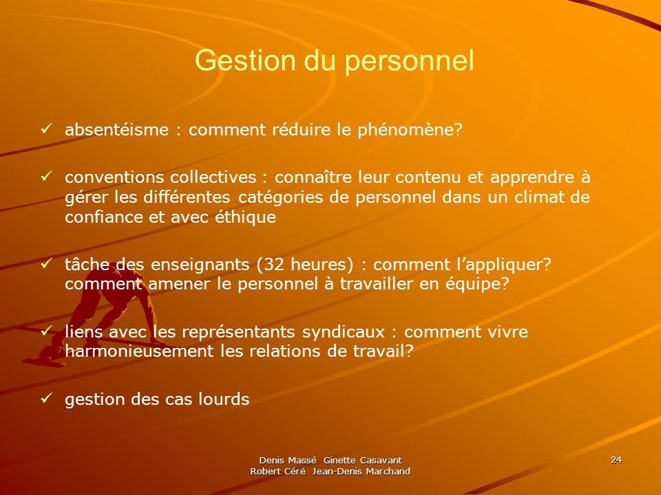 Denis Massé Ginette Casavant Robert Céré Jean-Denis Marchand 24 Gestion du personnel absentéisme : comment réduire le phénomène.