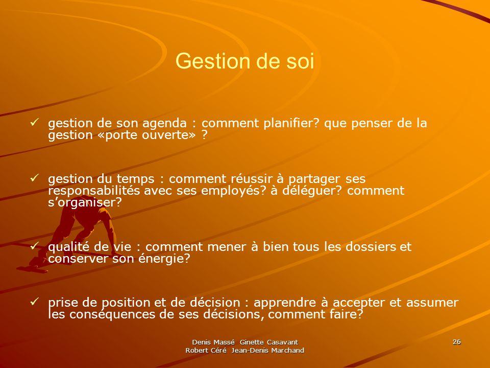 Denis Massé Ginette Casavant Robert Céré Jean-Denis Marchand 26 Gestion de soi gestion de son agenda : comment planifier? que penser de la gestion «po