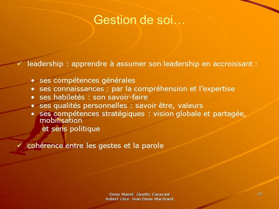 Denis Massé Ginette Casavant Robert Céré Jean-Denis Marchand 27 Gestion de soi… leadership : apprendre à assumer son leadership en accroissant : ses c