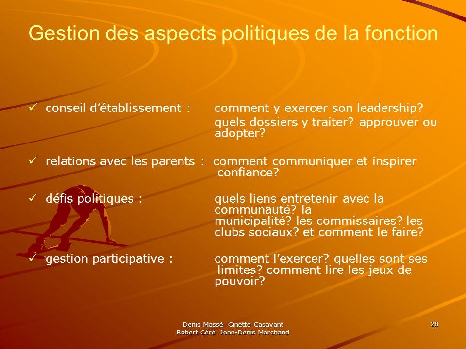 Denis Massé Ginette Casavant Robert Céré Jean-Denis Marchand 28 Gestion des aspects politiques de la fonction conseil détablissement : comment y exercer son leadership.