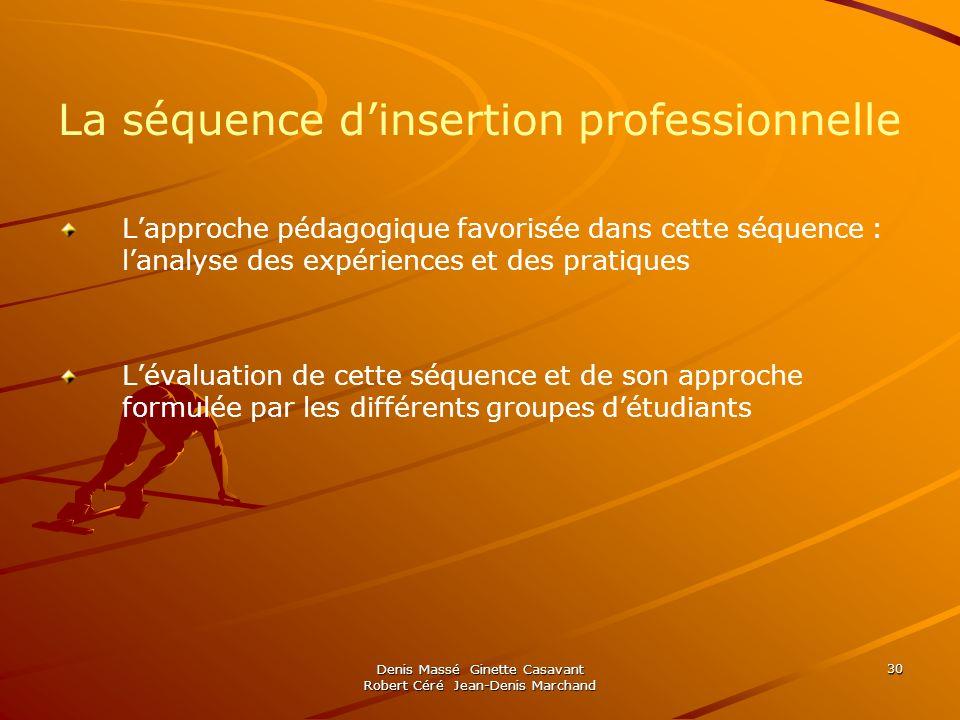 Denis Massé Ginette Casavant Robert Céré Jean-Denis Marchand 30 La séquence dinsertion professionnelle Lapproche pédagogique favorisée dans cette séqu