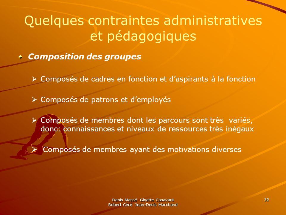 Denis Massé Ginette Casavant Robert Céré Jean-Denis Marchand 32 Quelques contraintes administratives et pédagogiques Composition des groupes Composés