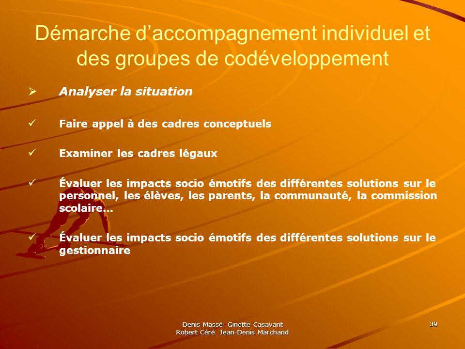 Denis Massé Ginette Casavant Robert Céré Jean-Denis Marchand 39 Démarche daccompagnement individuel et des groupes de codéveloppement Analyser la situ