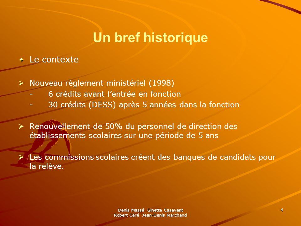 Denis Massé Ginette Casavant Robert Céré Jean-Denis Marchand 5 Un bref historique … Le contexte… LUniversité de Montréal, en lan 2000, décide doffrir informellement un microprogramme de 15 crédits à la relève de la CSDM, dont 6 crédits sont de la responsabilité de cette dernière.