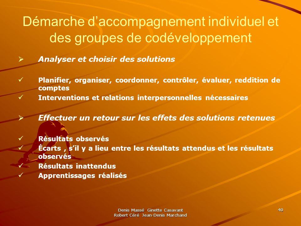 Denis Massé Ginette Casavant Robert Céré Jean-Denis Marchand 40 Démarche daccompagnement individuel et des groupes de codéveloppement Analyser et choi